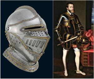 Celada de Carlos V y el Monarca en armadura